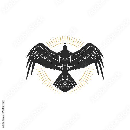 Naklejka premium Mystic flying raven hand drawn silhouette vector illustration