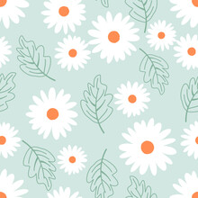 Seamless Pattern With Daisy Flower And Leaves On Green Background Vector Illustration. Cute Floral Print.