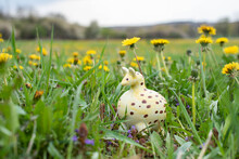 Small Fat Giraffe Baby Ceramic Figurine In The Grass With Daisy Flowers