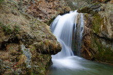 Cascading Waterfall In A Mountain River. Honey Waterfalls. Kislovodsk. Caucasus Mountains