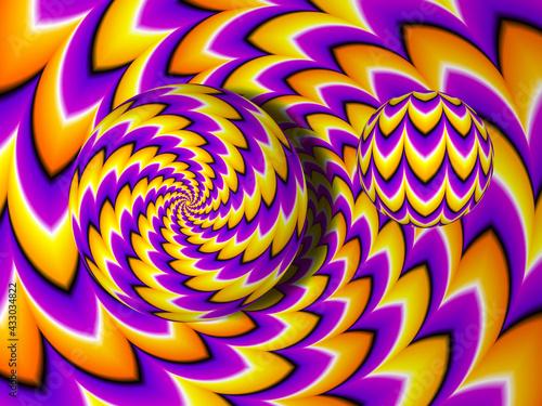 Fotografija Orange and purple background with moving spheres