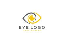 Eye Vector Logo Design Template. Modern Minimal Flat Design Style. Vector Illustration.