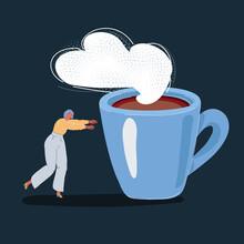 Vector Illustration Of Half Awake Woman Go Toward Big Giant Mug Of Coffee On Dark Backround