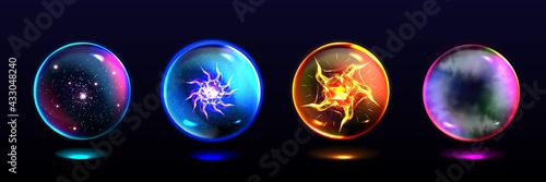 Fototapeta Magic Spheres Crystal Balls With Lightning Energy Burst Stars And Mystical Fog I