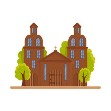 Old Catholic Church Isolated On White Background. Medieval Architecture As A National Treasure, Public Municipal Religious Place. Holy Christian Protestant Building. Vector Cartoon Flat Illustration