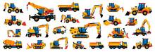 Large Collection Of Construction Equipment. Set Of Commercial Vehicles For Construction Work. Excavator, Tractor, Bulldozer, Asphalt Paver, Concrete Mixer, Loader, Telehandler. Vector Illustration.