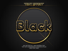 Black Gold Text Effect. Luxury Editable Text Effect With Shiny Gold
