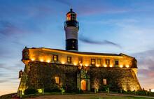 Image Of The Farol Da Barra Lighthouse During Sunset In Summer At Salvador City, Bahia, Brazil