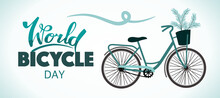 World Bicycle Day. Banner For The Holiday.