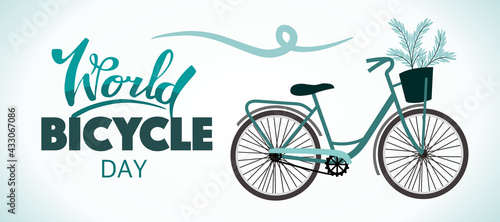 Fotografija World Bicycle Day. Banner for the holiday.