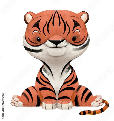 Naklejka premium cute lovely little tiger cartoon character sitting