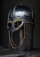 Single Medieval Helmet On Stick Around Fur