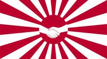 Handshake Symbol With Rising Sun Background. Japanese Imperial Navy Flag Isolated Vector Design. Abstract Japanese Flag For Decoration Design. Sunshine Vector Background. Vintage Sunburst.