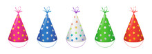 Party Hats With Gold, Silver And Rainbow Stars For Birthday Celebration. Vector Cartoon Set Of Funny Cone Head Caps With Ribbons Isolated On White Background