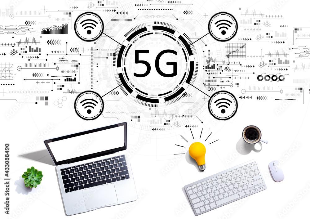 Leinwandbild Motiv - Tierney : 5G network with computers with a light bulb