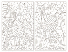 Set Of Contour Illustrations In The Style Of A Stained Glass Window With Mushrooms Compositions, Dark Outlines On A White Background