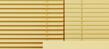 Minimal Style Mockup For Product Presentation. Yellow Podium And Aluminium Venetian Blind On Yellow Background. Clipping Path Of Each Element Included. 3d Rendering Illustration.