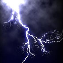 Isolated Realistic Lightning Dark Blue Sky