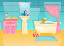 Colorful Bathroom Interior With Rubber Duck In Bath. Cartoon Vector Illustration. Pink Cabinet, Mirror, Curtain, Bathtub Full Of Water. Furniture, Bathroom Interior, Home Concept For Design
