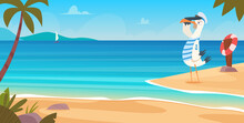Seagull On Beach. Bird Sailor On Seaside Standing Flying Near Sand Coast Ocean Landscape Blue Water And Sky Exact Vector Cartoon Background