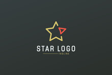 Star Logo Line. Gold Geometric Line Five Star Icon With Red Right Arrow Isolated On Dark Background. Usable For Business And Branding Logos. Flat Vector Logo Design Template Element.