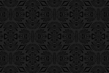 3D Volumetric Convex Embossed Geometric Black Background. Ethnic Pattern In The Style Of Doodling, Mexican Motifs. Artistic Unique Ornament For Wallpaper, Website, Textile, Presentation.