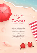 Vector Beautiful Realistic Top View Illustration Of Sandy Summer Beach With Beach Umbrella, Sunglasses And Seashells