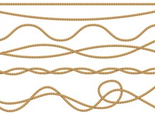 Fiber Ropes Realistic. Curve Nautical Rope Seamless Pattern, Cord Straight Lasso Decorative Borders Retro Collection, Marine Brown Jute Or Hemp Twine Ornament. Vector 3d Isolated Vintage Set