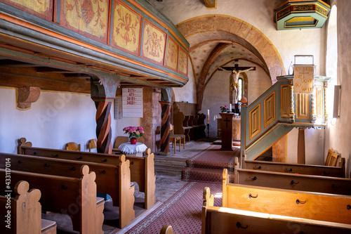 Canvastavla historische Kirche Innenraum mit Christus und Altar