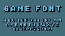 Pixel Art Alphabet. Retro Video Game Font, 8 Bit Graphic 80s, Old School Digital Square Numbers And Latin Letters, Arcade Gaming 90s Abc Elements. Blue Typeface Vector Isolated Set