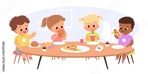 Fototapeta Children eat together. Happy kids sitting common table, junior students have lunch, young friends take fast food and snacks. Hungry boys and girls with hamburgers vector cartoon concept obraz