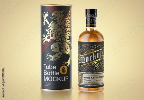 Fototapeta Whiskey Bottle with Paper Tube Mockup obraz