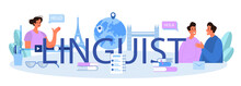 Linguist Typographic Header. Person Translating Document, Books And Speach