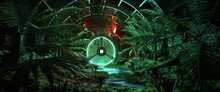 Neon Glowing Green Airlock Hatch Surrounded By Tropical Trees. 3D Illustration With Aethetics Of Synthwave Style. Retro Futuristic Composition. Retrowave Wallpaper.
