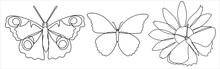 Set In A Modern One Line Art Of Butterflies.