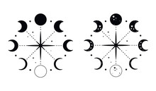Moon Phases In A Circular Composition.