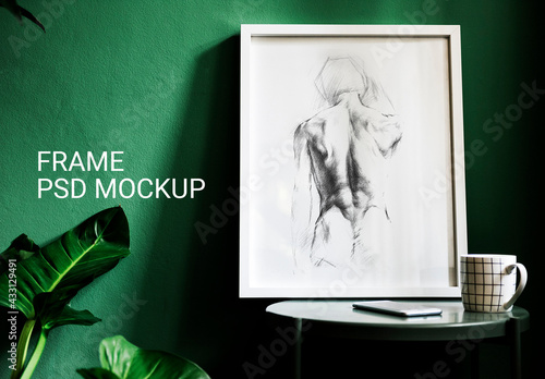 Fototapeta Picture Frame Mockup with a Green Wall obraz