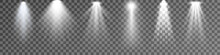 Set Of Spotlight Isolated On Transparent Background. Vector Glowing Light Effect With White Rays And Beams. PNG. Vector Illustration