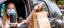 Food Delivery Home. Covid 19, Quarantine. Contactless Delivery In A Pandemic. Safety. Delivery Courier With Order.curbside Pickup