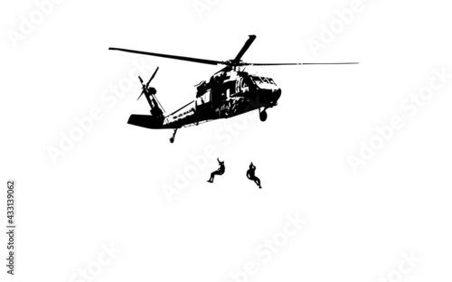 Fotografia Helicóptero militar vetorizado.