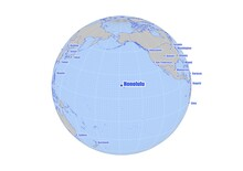 Honolulu;United States Of America Map At The Center Of A Global View Of The World.  Map Showing Honolulu;United States Of America's Position On The World Map And Other Major Cities Around The World.