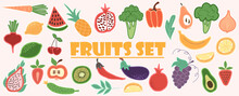 Doodle Fruits. Set Of Tasty Ripe Juicy Exotic Tropical Fruits, Whole And Cut Into Slices. Vegan Kitchen Apple Hand Drawn, Organic Fruits Or Vegetarian Food. Vector Illustration In Doodle Style