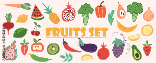 Fototapeta Doodle fruits. Set of tasty ripe juicy exotic tropical fruits, whole and cut into slices. Vegan kitchen apple hand drawn, organic fruits or vegetarian food. Vector illustration in doodle style obraz