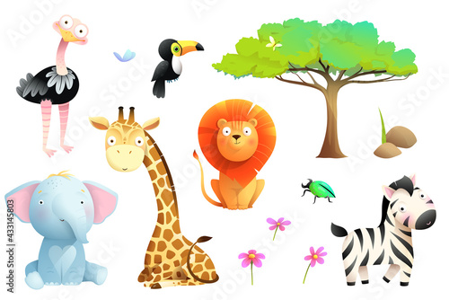 Naklejka premium African safari animals isolated clipart collection. Lion giraffe zebra toucan elephant and ostrich colorful jungle wildlife collection for kids, vector cartoon.