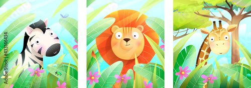 Naklejka premium Lion, zebra and giraffe in green nature framed with leaves, grass and trees, zoo animals . Colorful african wildlife poster or greeting cards collection for kids, vector cartoon in watercolor style.