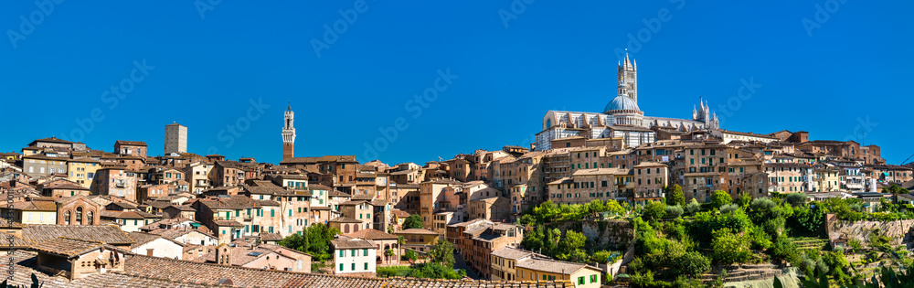 View of the medieval city of Siena in Italy