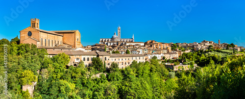 Naklejka premium The Basilica of San Domenico and the Cathedral of Siena in Tuscany, Italy