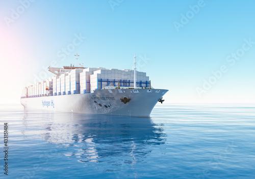 Fototapeta Liqiud Hydrogen renewable energy in vessel - LH2 hydrogen gas for clean sea tran
