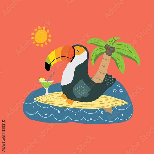 Naklejka premium Cute Toucan on surfboard Cartoon Animal baby and children print design Vector Illustration