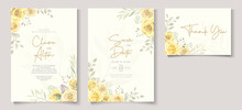Beautiful Wedding Invitation Template With Hand Drawn Yellow Roses